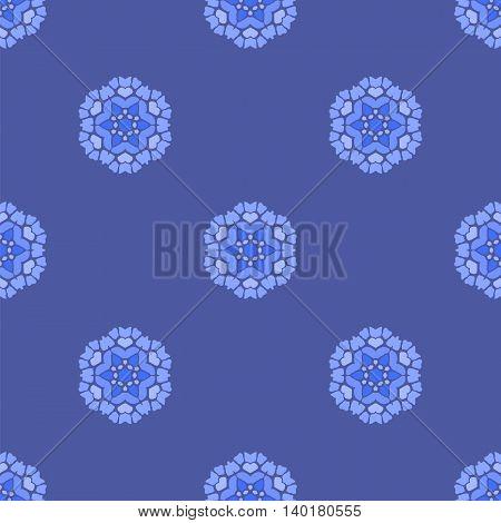 Creative Ornamental Seamless Blue Pattern. Geometric Decorative Background