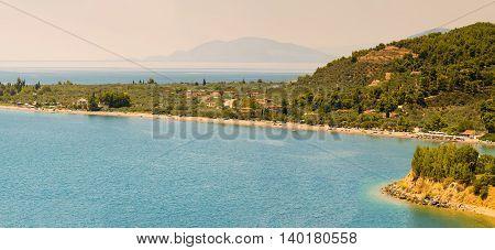 Kochili beach (Spiada) at north Evia. Panoramic view.