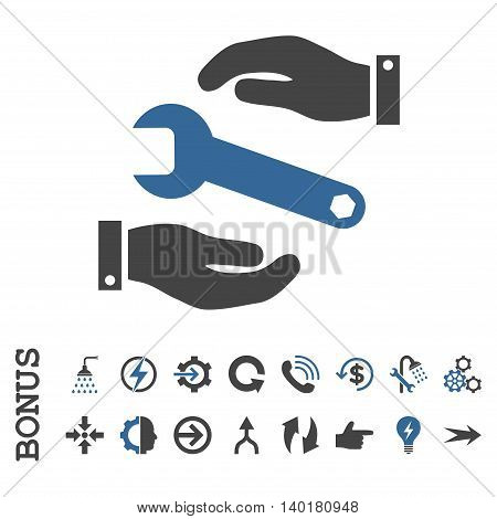 Service vector bicolor icon. Image style is a flat pictogram symbol, cobalt and gray colors, white background.