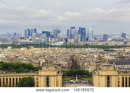 PARIS, FRANCE - MAY 12, 2015: This is aerial view of the western part of the modern city from the Eiffel Tower.
