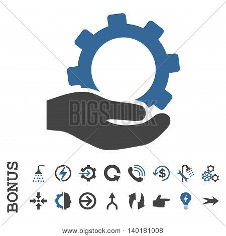 Service vector bicolor icon. Image style is a flat iconic symbol, cobalt and gray colors, white background.