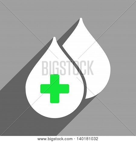 Medical Drops long shadow vector icon. Style is a flat medical drops white iconic symbol on a gray square background.
