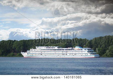 YAROSLAVL, RUSSIA - JUNE 24, 2016: Cruise ship Ilya Repin is sailing on Volga River.