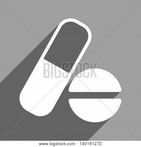 Medication long shadow vector icon. Style is a flat medication white iconic symbol on a gray square background.