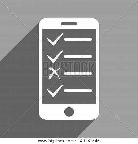 Mobile Test long shadow vector icon. Style is a flat mobile test white iconic symbol on a gray square background.