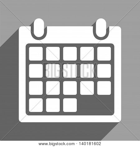 Month Calendar long shadow vector icon. Style is a flat month calendar white iconic symbol on a gray square background.