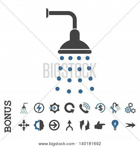 Shower vector bicolor icon. Image style is a flat iconic symbol, cobalt and gray colors, white background.