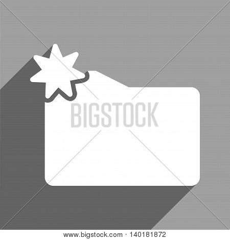 New Folder long shadow vector icon. Style is a flat new folder white iconic symbol on a gray square background.
