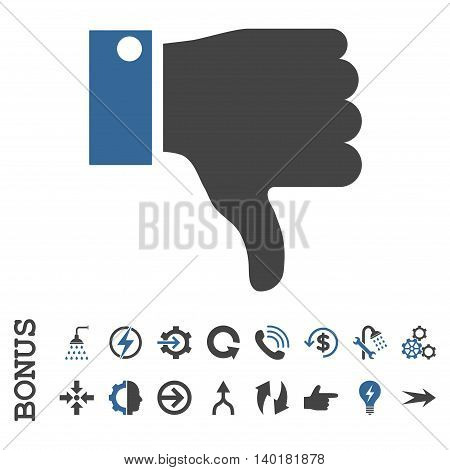 Thumb Down vector bicolor icon. Image style is a flat pictogram symbol, cobalt and gray colors, white background.