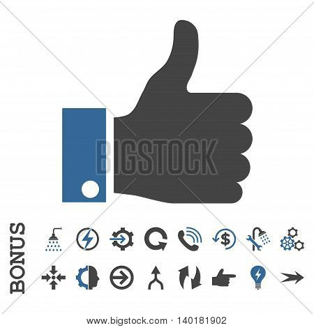 Thumb Up vector bicolor icon. Image style is a flat iconic symbol, cobalt and gray colors, white background.