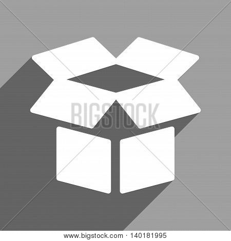 Open Box long shadow vector icon. Style is a flat open box white iconic symbol on a gray square background.