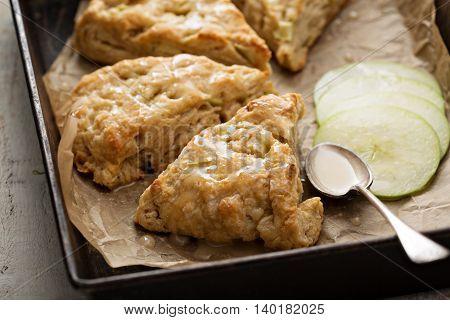 Yogurt apple scones with cider glaze for breakfast