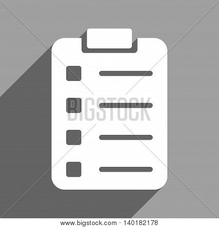 Pad Form long shadow vector icon. Style is a flat pad form white iconic symbol on a gray square background.