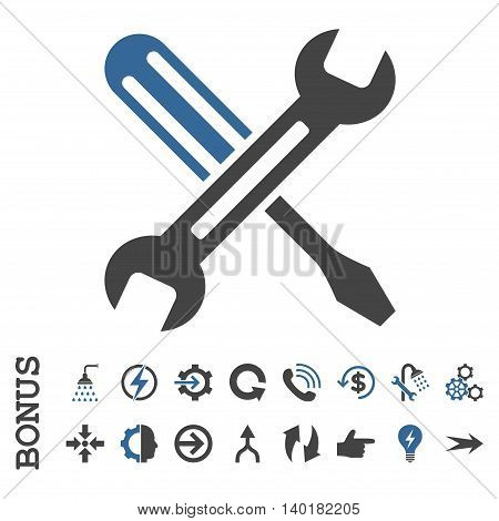 Tuning vector bicolor icon. Image style is a flat pictogram symbol, cobalt and gray colors, white background.