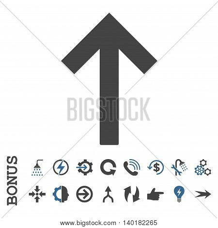 Up Arrow vector bicolor icon. Image style is a flat pictogram symbol, cobalt and gray colors, white background.