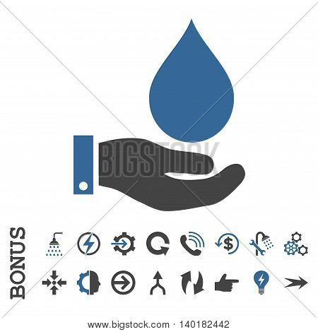 Water Service vector bicolor icon. Image style is a flat pictogram symbol, cobalt and gray colors, white background.
