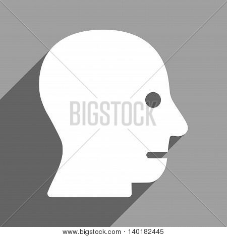 Patient Head long shadow vector icon. Style is a flat patient head white iconic symbol on a gray square background.