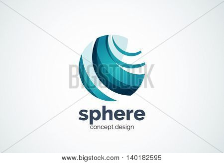 Sphere logo template, global or world concept - geometric minimal style, created with overlapping curve elements and waves. Corporate identity emblem, abstract business company branding element