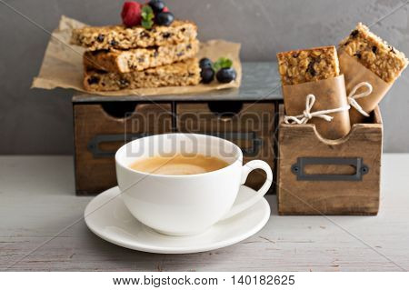 Lunch or snack to go for office or school granola bars, apples and coffee