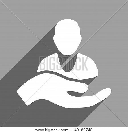 Person Assistance long shadow vector icon. Style is a flat person assistance white iconic symbol on a gray square background.