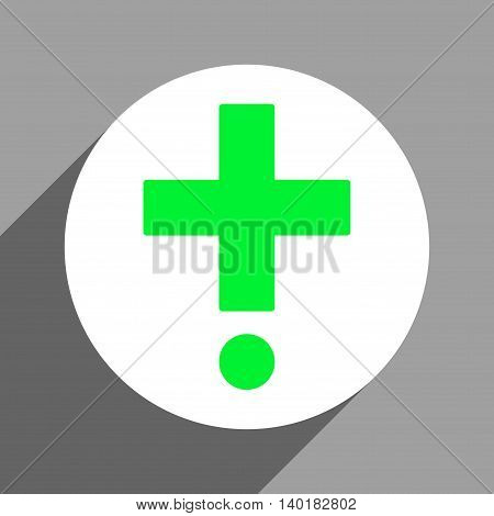 Pharmacy long shadow vector icon. Style is a flat pharmacy white iconic symbol on a gray square background.