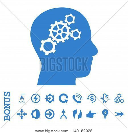Brain Gears vector icon. Image style is a flat iconic symbol, cobalt color, white background.