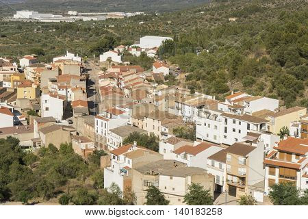 Aerial view of white houses and clay tiles, Villafames rural villa in Castellon, Valencia region in Spain