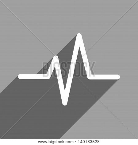 Pulse long shadow vector icon. Style is a flat pulse white iconic symbol on a gray square background.
