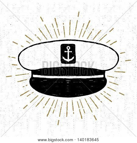 Hand drawn vintage icon with a textured captain hat vector illustration.