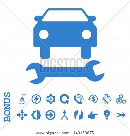 Car Repair vector icon. Image style is a flat pictogram symbol, cobalt color, white background.