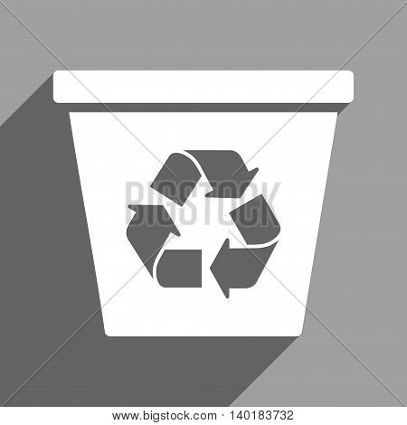 Recycle Bin long shadow vector icon. Style is a flat recycle bin white iconic symbol on a gray square background.