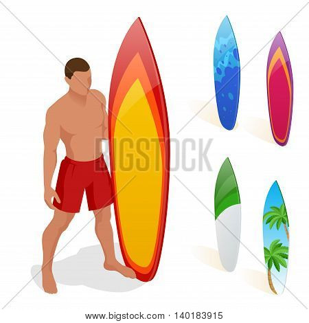 Man is standing with a surfboard in his hands. Flat 3d vector isometric illustration. Extreme water sports