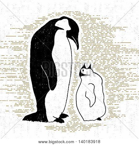 Hand drawn vintage icon with a textured penguins vector illustration.