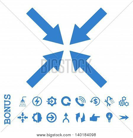 Center Arrows vector icon. Image style is a flat pictogram symbol, cobalt color, white background.