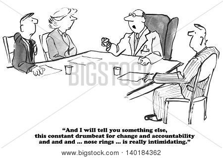 Business cartoon about being intimidated by constant change.