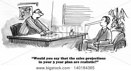 Business cartoon about exaggerated and unrealistic sales projections