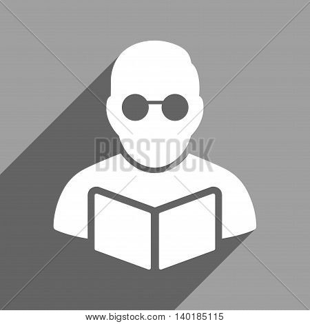 Student Reading Book long shadow vector icon. Style is a flat Student reading book white iconic symbol on a gray square background.