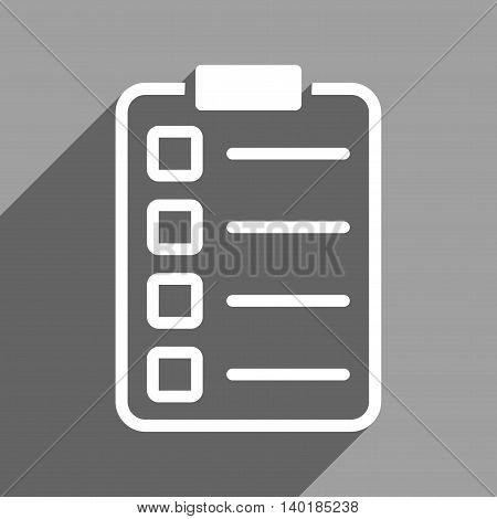Test Form long shadow vector icon. Style is a flat test form white iconic symbol on a gray square background.