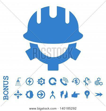 Development Helmet vector icon. Image style is a flat pictogram symbol, cobalt color, white background.