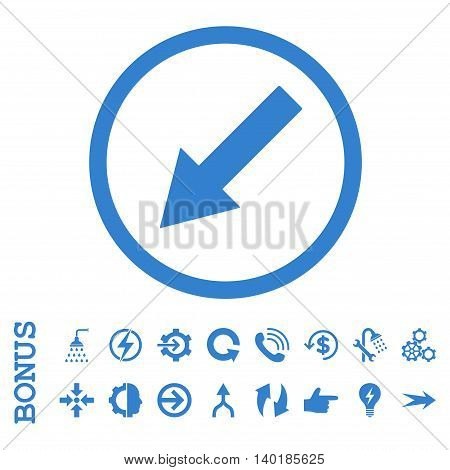Down-Left Rounded Arrow vector icon. Image style is a flat iconic symbol, cobalt color, white background.