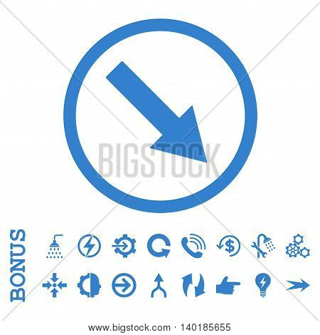 Down-Right Rounded Arrow vector icon. Image style is a flat pictogram symbol, cobalt color, white background.