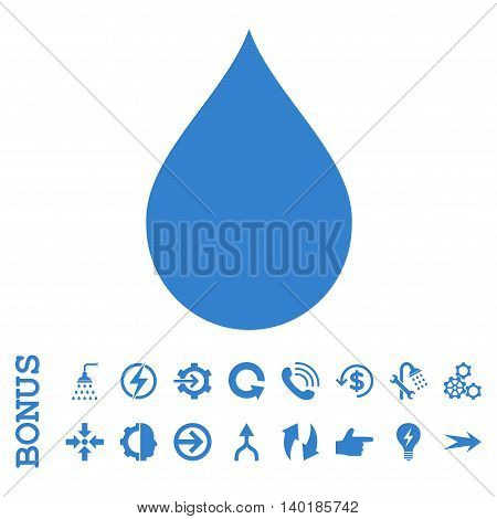 Drop vector icon. Image style is a flat iconic symbol, cobalt color, white background.