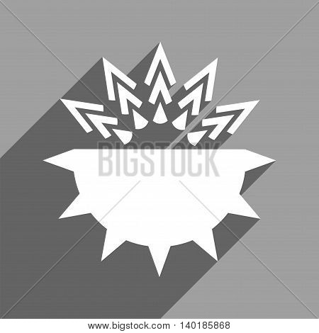 Viral Structure long shadow vector icon. Style is a flat viral structure white iconic symbol on a gray square background.