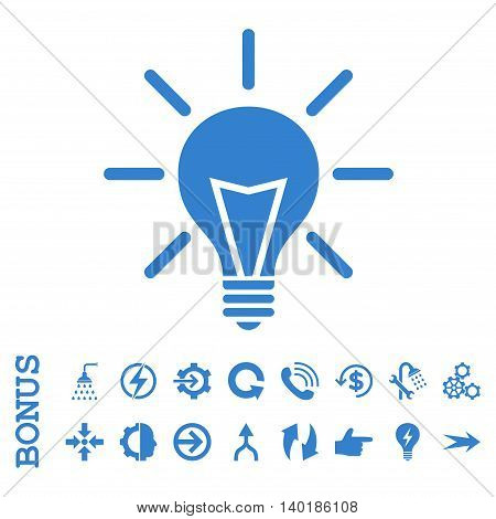 Electric Light vector icon. Image style is a flat pictogram symbol, cobalt color, white background.