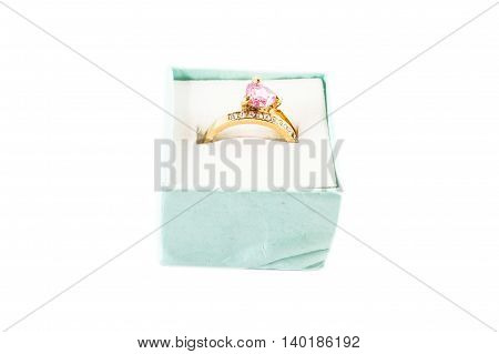 Old Fake Gold Ruby Ring in white background
