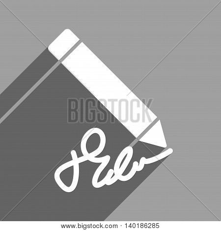 Writing Pencil long shadow vector icon. Style is a flat writing pencil white iconic symbol on a gray square background.