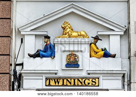 LONDON UK - JULY 1 2014 : Twinings' shop on the Strand in central London. It was established as a tea room in 1706.