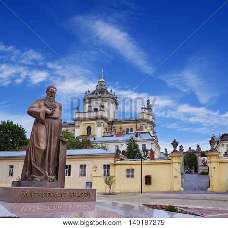 LVOV UKRAINE - MAY 8 2016: Entrance to one of the most popular churches in Lviv - St. George's Cathedral and a newly erected monument of metropolitan Andrey Sheptytsky