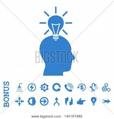 Genius Bulb vector icon. Image style is a flat pictogram symbol, cobalt color, white background.