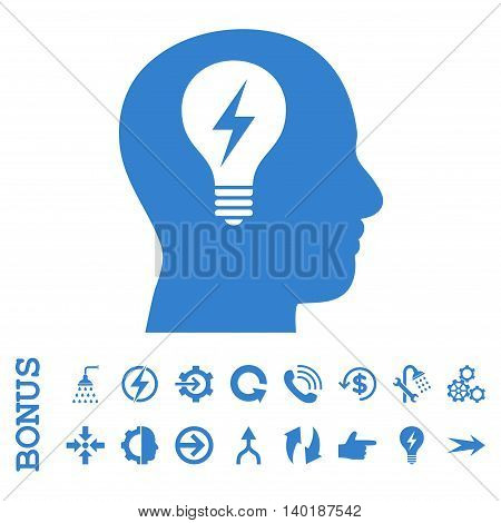 Head Bulb vector icon. Image style is a flat iconic symbol, cobalt color, white background.